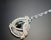 Wire lace labradorite pendant, Handmade silver jewelry, wireweaved pendant, wire wrapped necklace