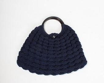 Vintage 1940s Navy Corde Crocheted Handbag with Bakelite Handles