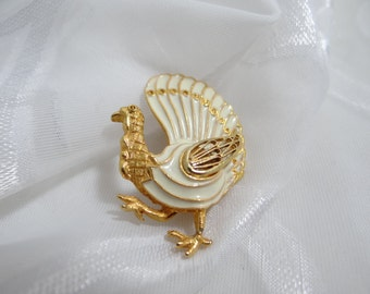 Vintage White Enamel and Gold Tone Turkey Brooch - Gobble Gobble