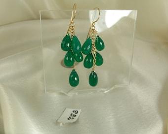 Green onyx briolette 14k gold filled earrings gemstone handmade item 884