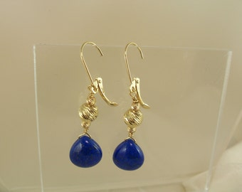 Smooth lapis lazuli briolette heart 14k Solid gold leverback with 6mm diamondcut ornament earrings gemstone item 871