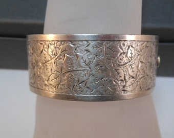 Victorian Sterling Engraved Bangle Bracelet