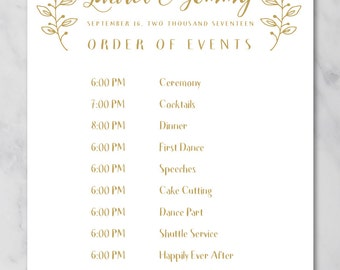 wedding schedule poster wedding order of events timeline poster printable wedding poster printed