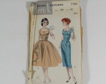 50s Dress Pattern - Butterick 7788 - SIze 12 - Vintage 1950s Pencil Skirt and Full Skirt Dress Pattern