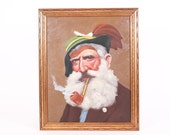 Beautiful Painting of an Old Man With Rich Colors on Canvas and Gold Painted Wood Frame