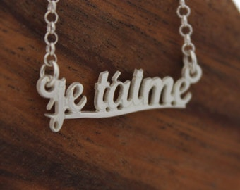 Je t'aime Necklace • Silver name necklace • Personalized jewelry • Gifts for her