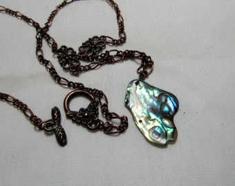 Butterfly Necklace Abalone Shell Butterfly Wings PendantMoth Silver Iridescent Fairy Jewelry Antiqued Copper