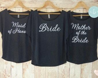 Bridesmaid Shirts - Dolman Off the Shoulder Shirt - Bachelorette Party Shirts - Bride Shirt - Wifey Shirt - Bridesmaid Gift - Bride Gift
