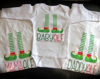 Christmas pajama shirts; Mama El;f Daddy Elf; Baby Elf; Brother Elf; Sister Elf; funny christmas shirt; christmas pajamas; matching shirts