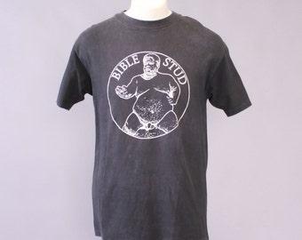 Vintage 80s BIBLE STUD T-SHIRT / 1980s Rare Seattle Grunge Rock Band Tee Shirt L Tshirt