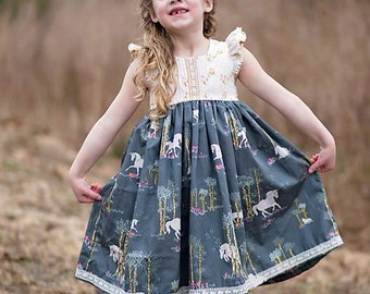 Harper Top, Tunic & Dress PDF Pattern instant download size 1/2-14years