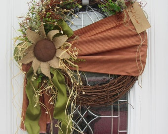 Summer Wreath - Sunflower Wreath - Autumn Wreath - Grapevine Wreath - Fall Primitive Wreath - Country Wreath  - Outdoor Fall Wreath -Decor