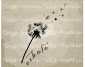 Dandelion Exhale Instant graphic digital download image transfer for iron on burlap decoupage scrapbooks pillows cards totes No gt253