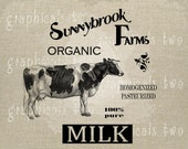 Milk ad Dairy cow organic sign Instant graphic digital download image transfer for iron on burlap decoupage pillow tote scrapbook No. gt256
