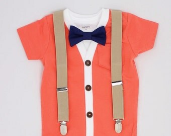 Cardigan and Bow Tie Set with Suspenders - Coral Cardigan / Navy Dot Tie / Khaki Suspenders