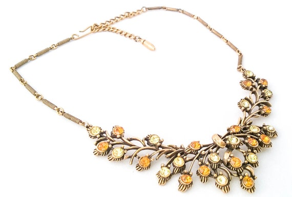 Vintage gold tone orange and yellow rhine stone flower statement necklace