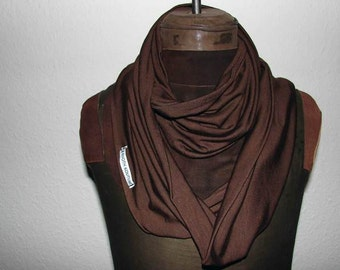 Jersey loop scarf brown