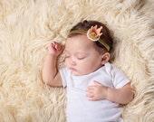 Princess Crown Headband, Baby headband, gold pink pearl headband,  newborn headband,  bow,  baby girl