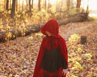 Velvet and Satin Hooded Cloak, Little Red Riding Hood, Photography, Pageant, Sizes 2T-7