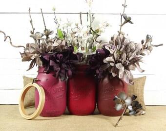 Red Mason Jars, Rustic Country Home Decor, Living Room Decor, Painted Mason Jars, Mason Jar Decor, Fall Decor, Rustic Chic Decor