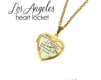 Los Angeles Map Necklace, California, Antique Map Jewelry, Brass Heart Locket, Vintage Locket, LA City Necklace, Gift for Her