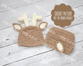 CROCHET PATTERN - Deer hat pattern, Newborn deer outfit pattern, deer outfit, deer hat and diaper cover, baby pattern, photo prop set