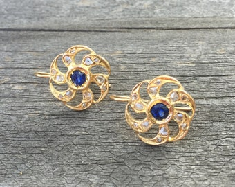 Antique Vintage Yellow Gold Earrings with Sapphires and Rose Cut Daimonds
