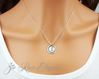 Silver wax seal initial simple elegant necklace