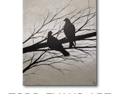 Love Birds Painting Canvas Art Wall Art Home Decor Wall Hangings Bird Silhouette Gray Wall Decor 16x20 Original Painting HAND PAINTED