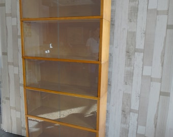 mid century modern maple barrister bookcase