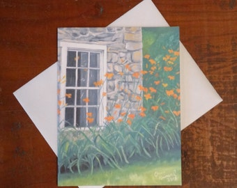 Stone House and Lilies: Folded Blank Note Card, Stationary