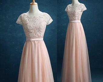 Long Bridesmaid Dress Blush,Blush Lace Tulle Wedding Dress,Tulle Formal Dress, Blush Tulle Party Dress Floor Length