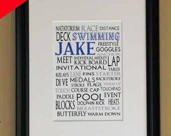 Personalized Sports Print- Swimming