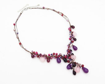 Purple pink beaded necklace on silk thread and wax thread, drop necklace, pendant necklace