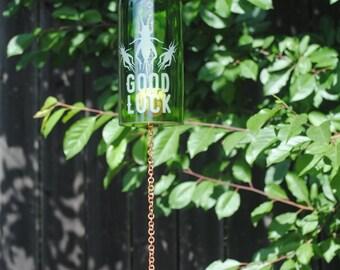 Lucky Cricket Wine Bottle Windchime - Glass Garden Art Rememberance Windcatcher Outdoor Wine Decor Bugs Luck Charm Protector Spirit E-G