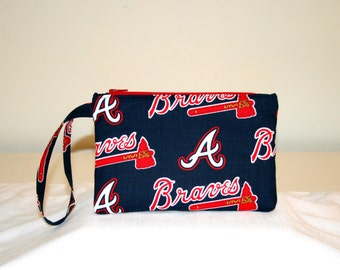 Atlanta Braves Wristlet  Bag, Cell Phone Bag, Padded Bag, Small Tech Bag, MLB Bags