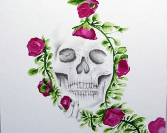 Original Skull Drawing and Roses Art Piece - Pencil Watercolor on Illustration Board - HOLDING ON