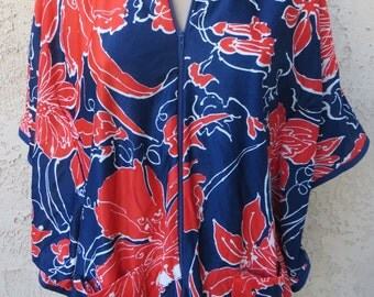 Vintage 1970's blue/red floral poly zipper front poncho top hippie boho
