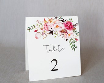 Floral Wedding Table Numbers, Modern Table numbers, Rustic Wedding Table Numbers, Wedding Decor. Wedding Decoration. Handmade.