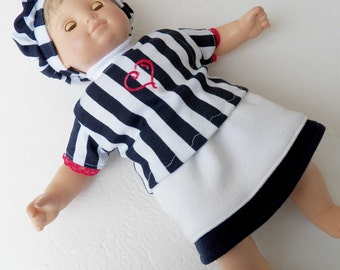 """Bitty Baby Heart Clothes Handmade for Twin Girl or Baby Doll 15"""" White navy blue stripe embroidered t shirt, tam (hat), skirt  pc set spring"""