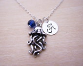 Jellyfish Charm Swarovski Birthstone Initial Personalized Sterling Silver Necklace / Gift for Her - Jellyfish Necklace