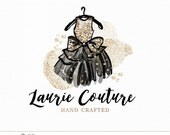 Dress Couture Logo | Watercolor Ink and Gold Glitter Dress with Bow | Custom Premade Design for Boutique, Accessories, Fashion Business