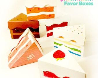 Cake Favor Boxes, favor box, party favors, printable cake box, treat box, party supplies, paper toy, tea party toys, tea time cakes