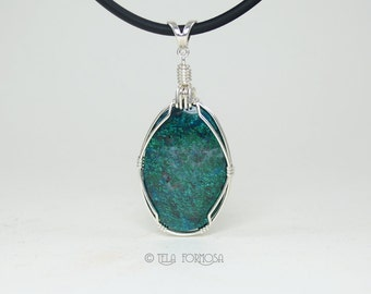 Wire Wrapped Pendant Chrysocolla Pendant Good Day Green Blue Natural Stone Cabochon Pendant Sterling Silver Wire Wrapped Jewelry Handmade