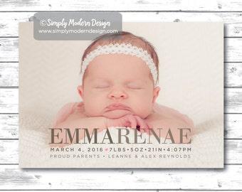 modern, simple, birth announcement, gender neutral birth announcement, new baby, its a girl, its a boy, PRINTABLE or PRINTED CARDS