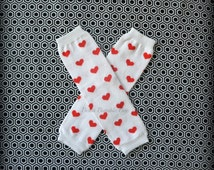 VALENTINE White Leg Warmers with Red Hearts Baby Outfit Leggings Pants, Baby Girl Chiffon Pants Tights, Photo Prop Smash Cake Prop