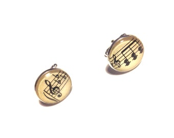Handmade vintage sheet music cufflinks musical notes musician treble clef geek fathers day wedding groomsmen