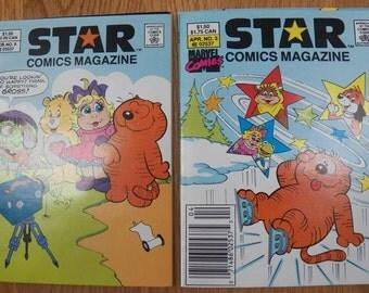 Lot of 2 Vintage STAR COMICS MAGAZINE~1987 1988 Heathcliff Care Bear Muppets Kermit