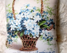 Mothers Day Pillow, BLUE Flower Basket, Shabby Chic Pillow, Shabby Pillow, MOTHERS Day Decor, Sweet!!!!!