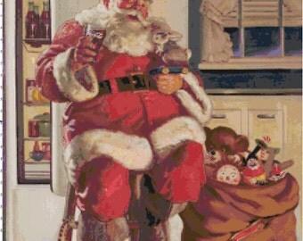 Coca Cola Santa in Fridge with Toys PDF Cross-Stitch Pattern - Buy 3 Patterns, Get 3 FREE